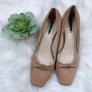 Zara Basic Square Toe Block Heel Pumps